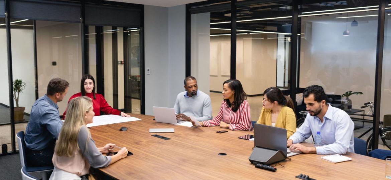 Business meeting investors